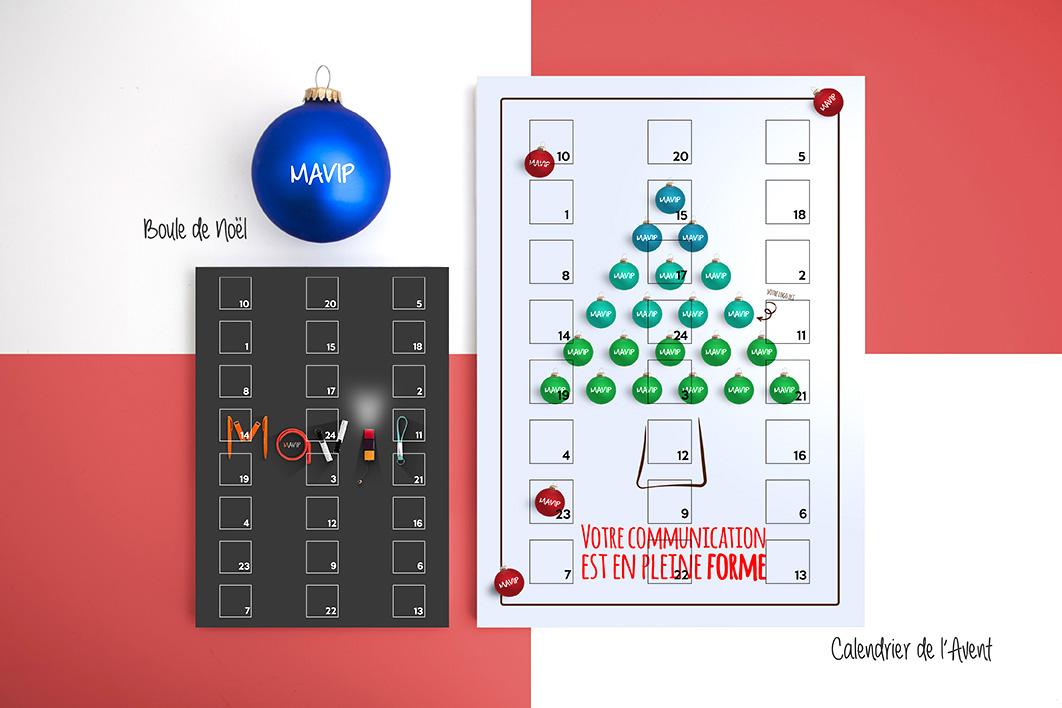 Calendriers de l'avent et boule de Noël personnalisables avec votre logo