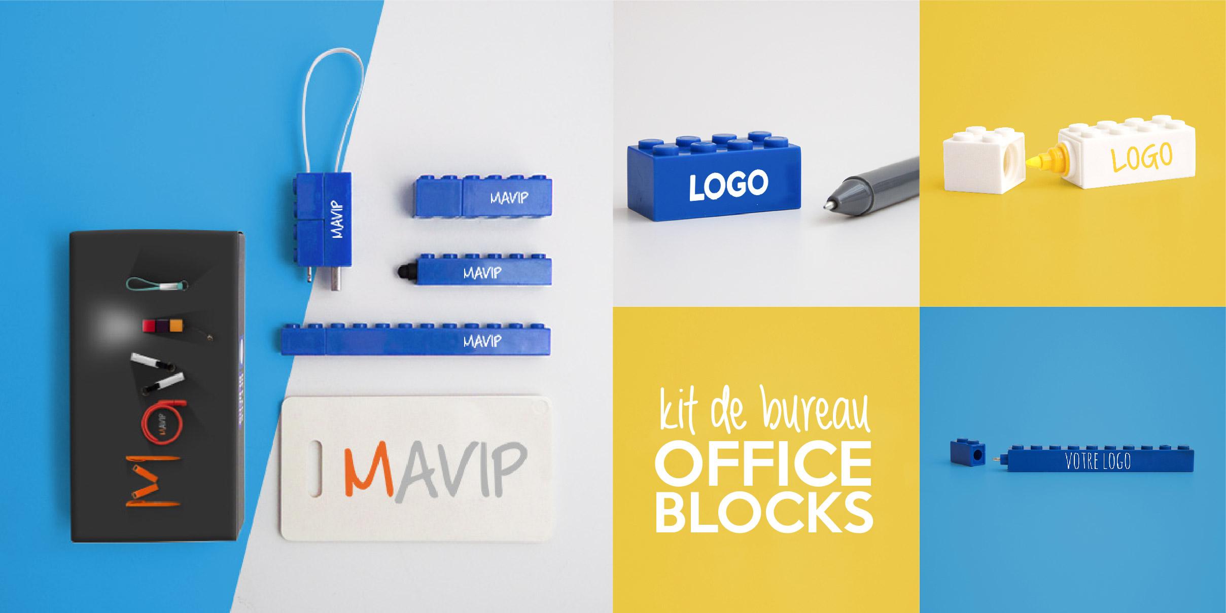Kit de bureau office blocks avec éléments en forme de LEGO personnalisables avec votre logo