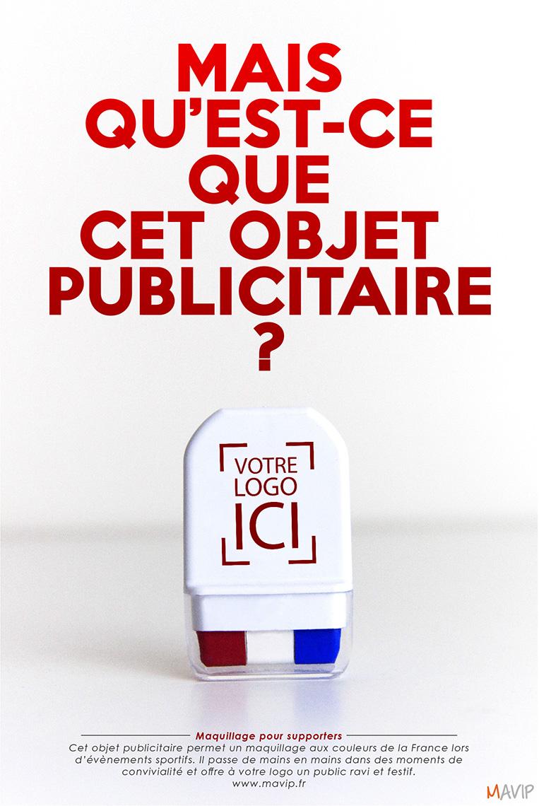 Kit de maquillage pour supporters bleu blanc rouge france avec logo