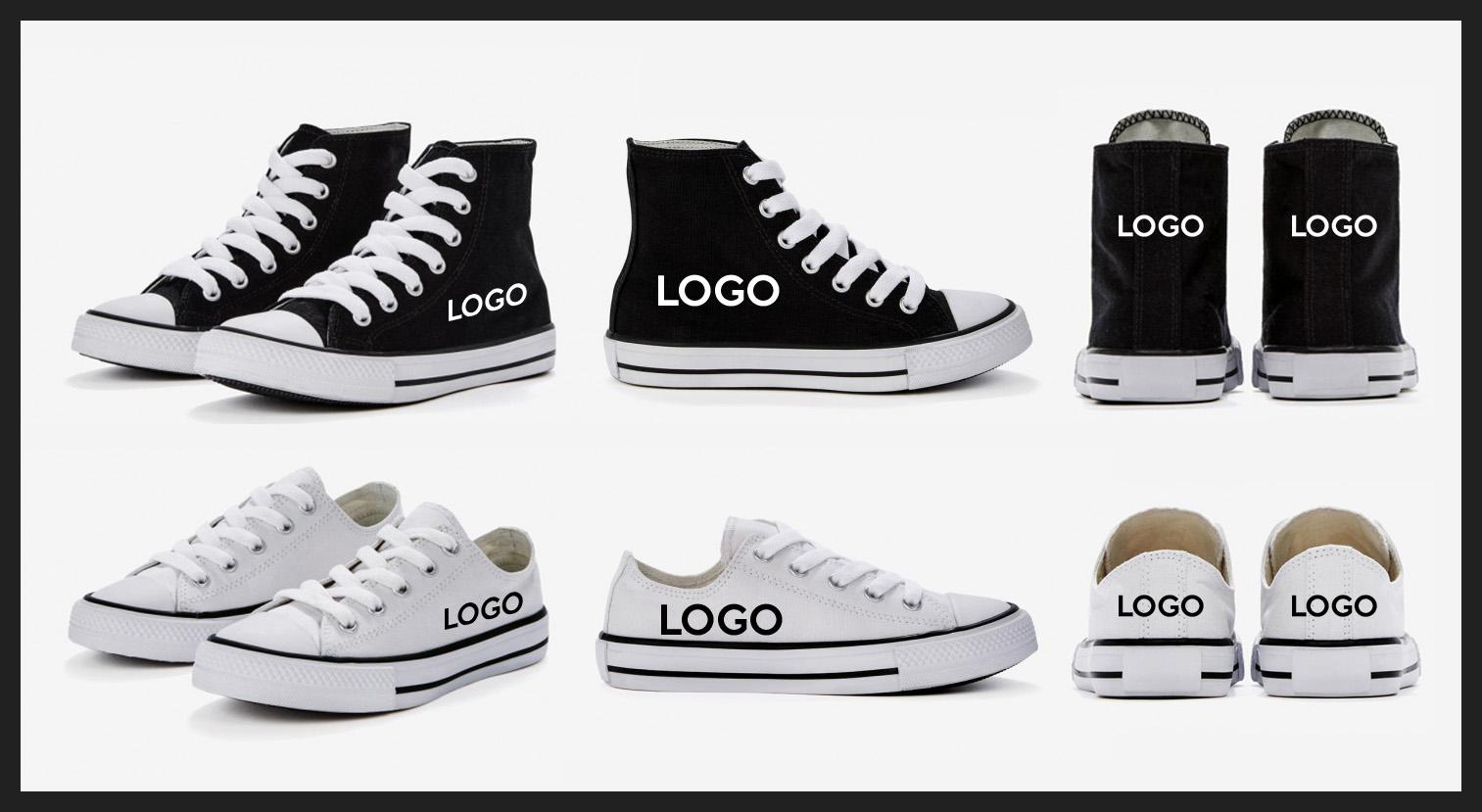 Différents modèles de chaussures en coton personnalisables avec logo
