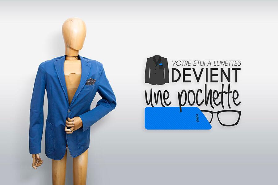 votre étui à lunettes personnalisable devient pochette pour votre veste de costume