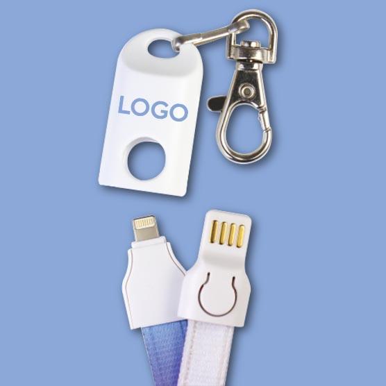 Câble de charge qui devient un lanyard personnalisable avec logo