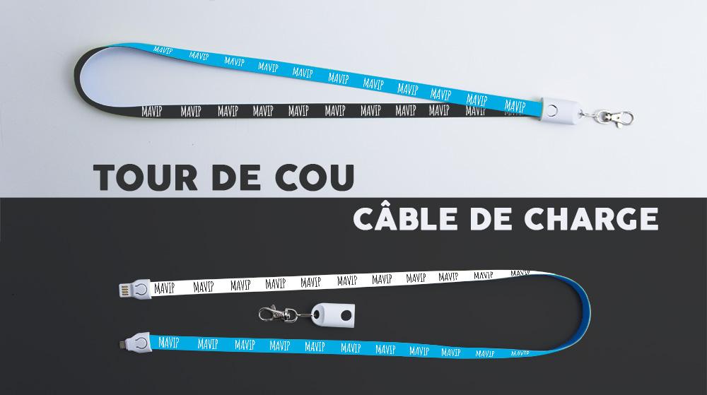 Câble smartphone qui devient un tour de cou personnalisable avec un logo d'entreprise