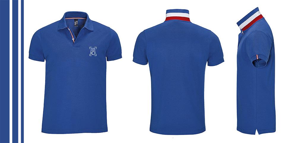 Polo personnalisable avec logo d'entreprise avec col bleu blanc rouge pour le mondial de football