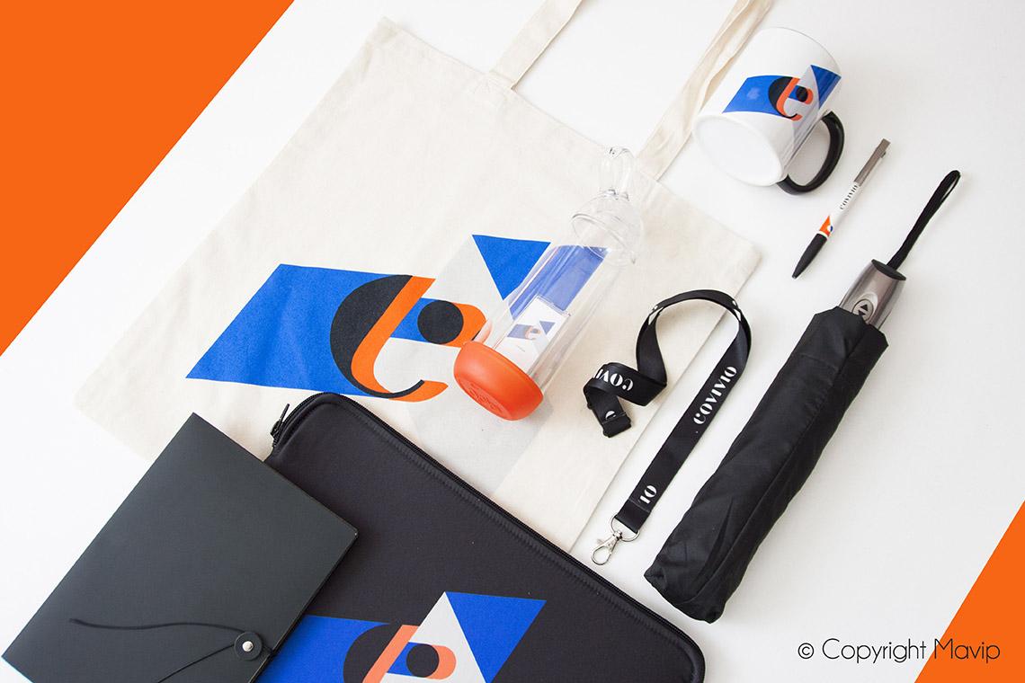 Kit d'objets médias personnalisé avec le logo Covivio par Mavip