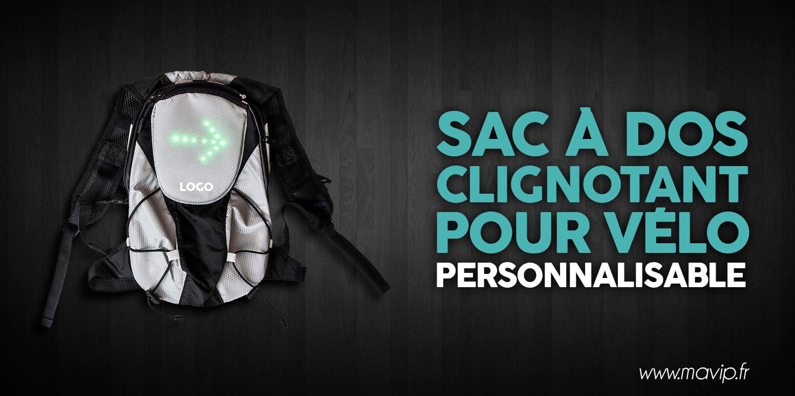 Sac à dos clignotant pour cycliste personnalisable avec logo d'entreprise