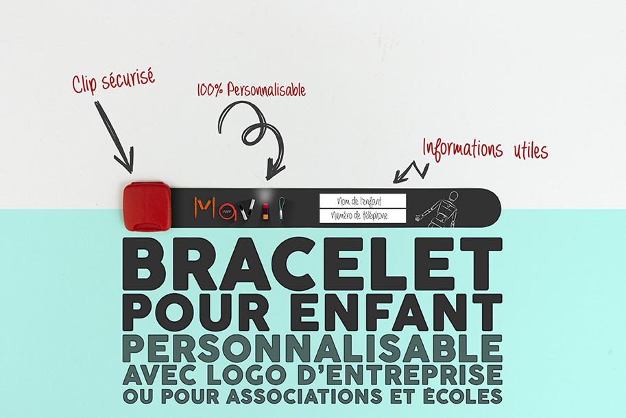 Bracelet d'identification pour enfant personnalisable avec logo