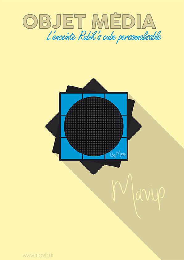 Enceinte Rubik's cube objet média personnalisable avec logo