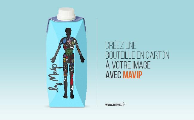 Bouteille en carton personnalisée avec logo ou visuel d'entreprise objet média by Mavip