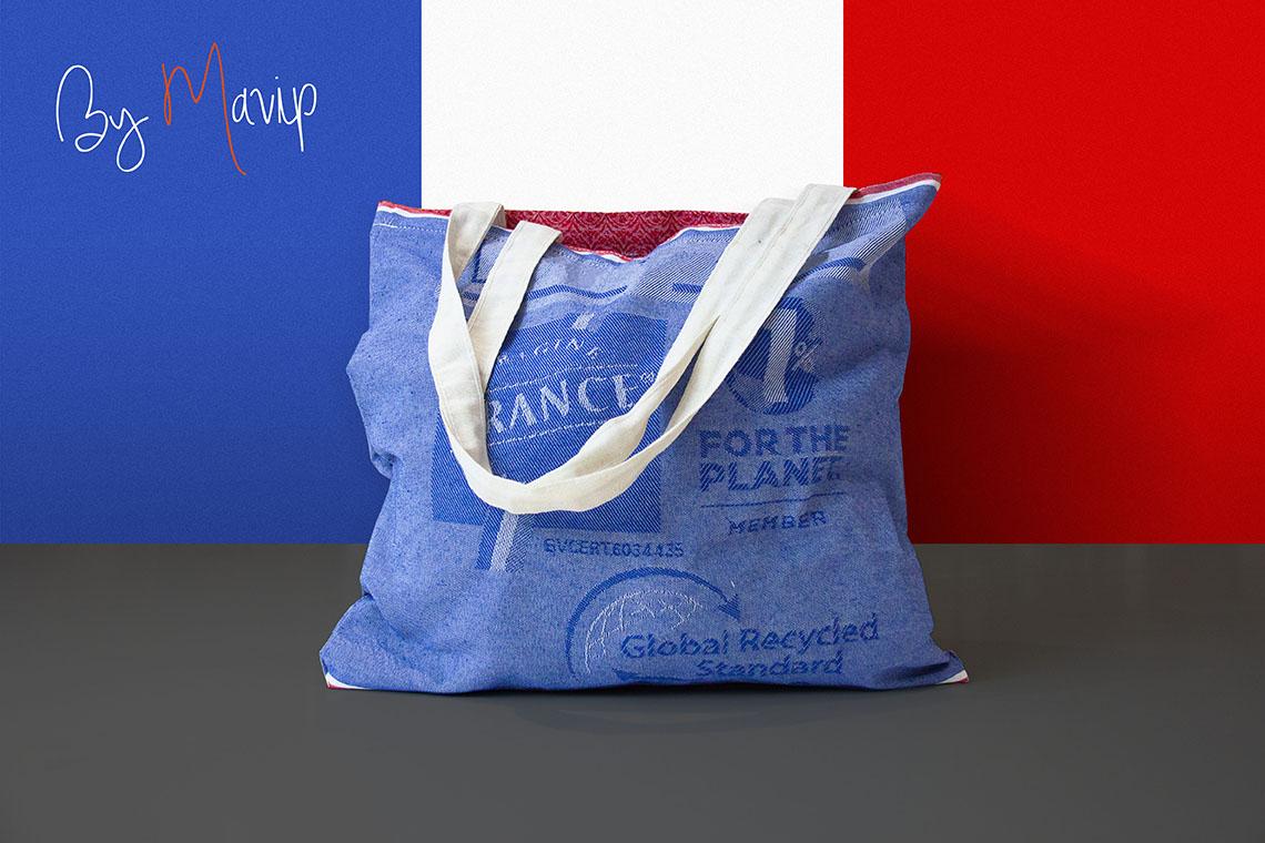 Sac recyclé made in France personnalisable avec logo d'entreprise