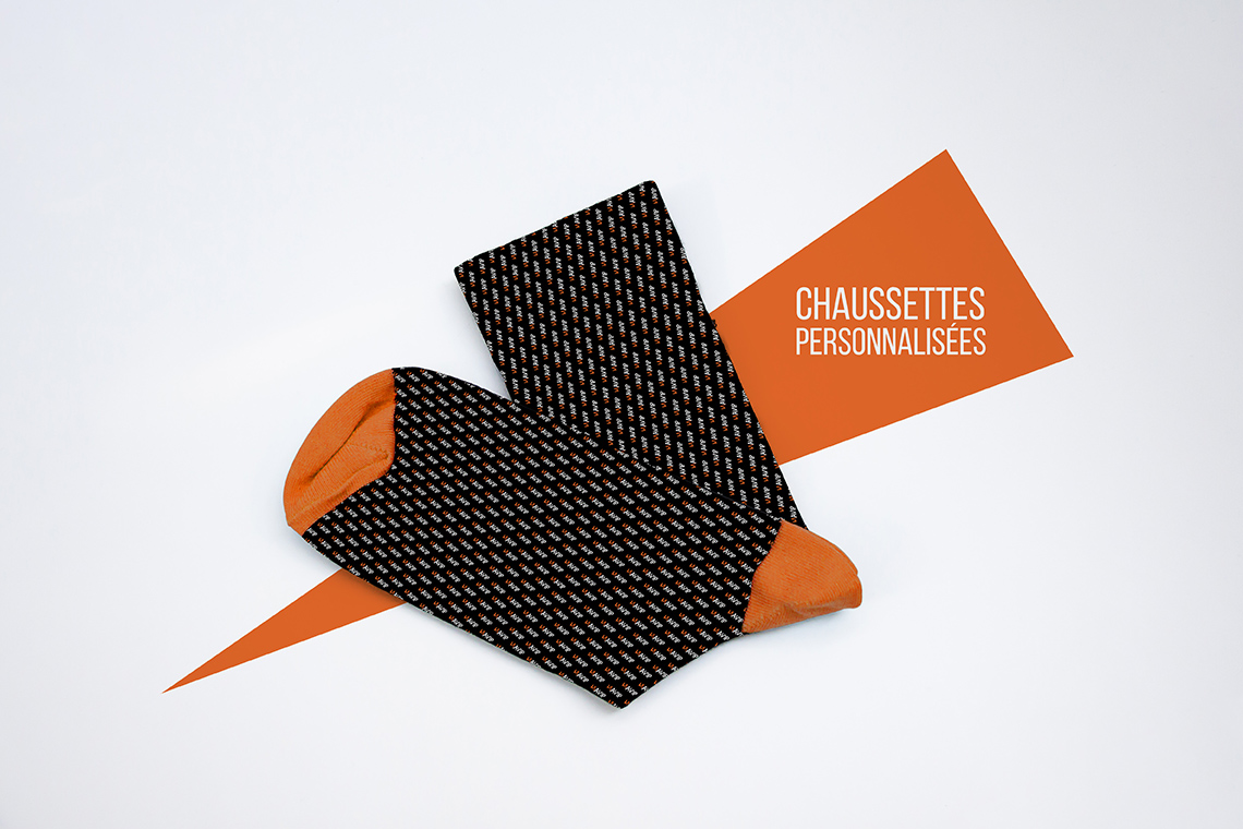Chaussettes personnalisées avec logo d'entreprise avec packaging camion