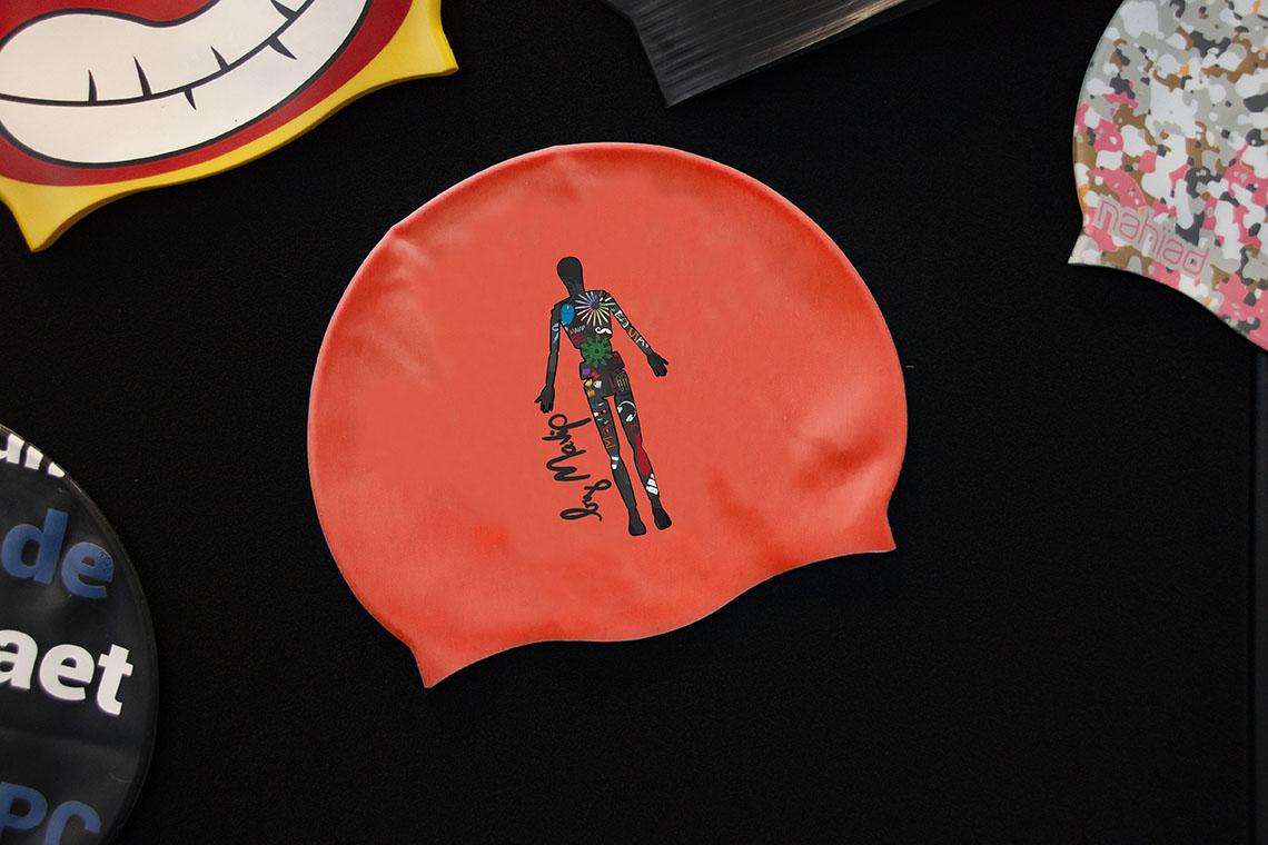 bonnet de bain personnalisable avec logo d'entreprise objet média by Mavip