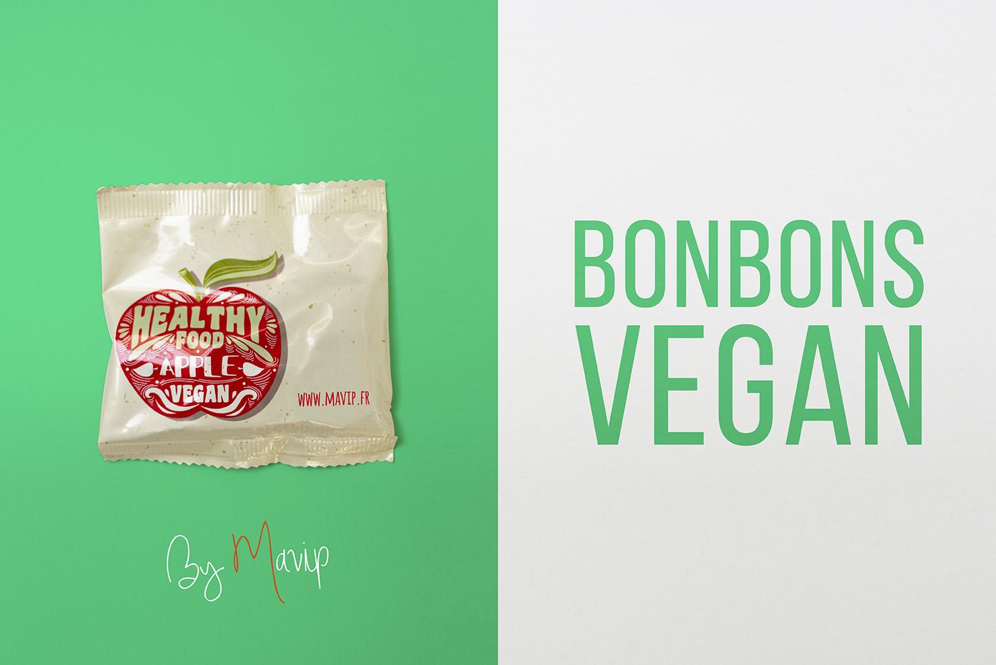 Bonbons Vegan personnalisés avec logo d'entreprise ou logo d'association