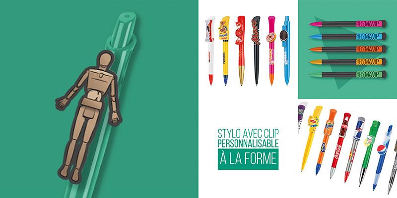 Stylo avec clip personnalisable à la forme de votre logo objet média by Mavip
