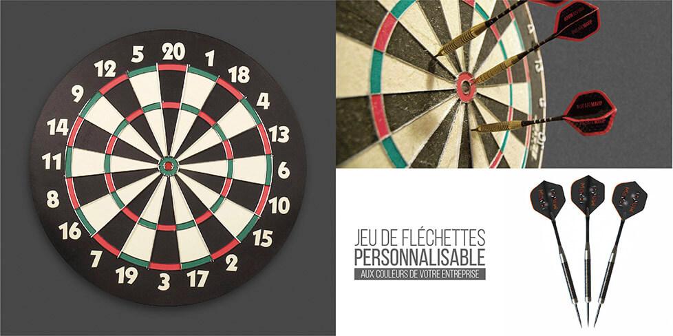Jeu de fléchettes personalisable avec fléchettes personnalisables avec logo d'entreprise