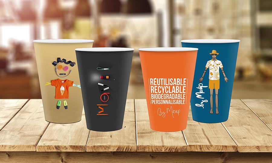 Gobelet réutilisable recyclable biodégradable et personnalisable avec logo d'entreprise by Mavip
