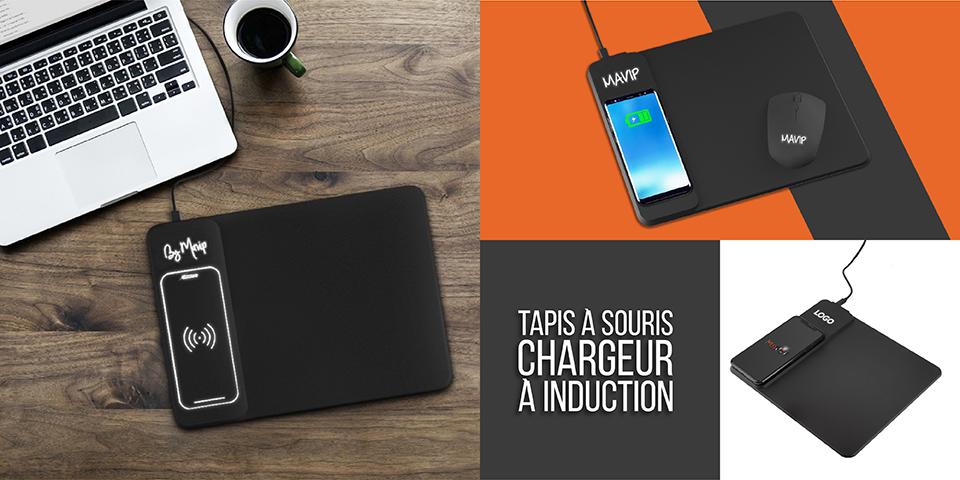 Tapis à souris avec chargeur à induction intégré personnalisable avec logo d'entreprise lumineux by Mavip
