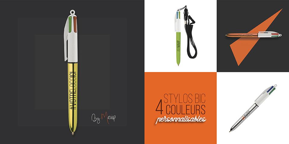 Stylos 4 couleurs personnalisables avec logo d'entreprise