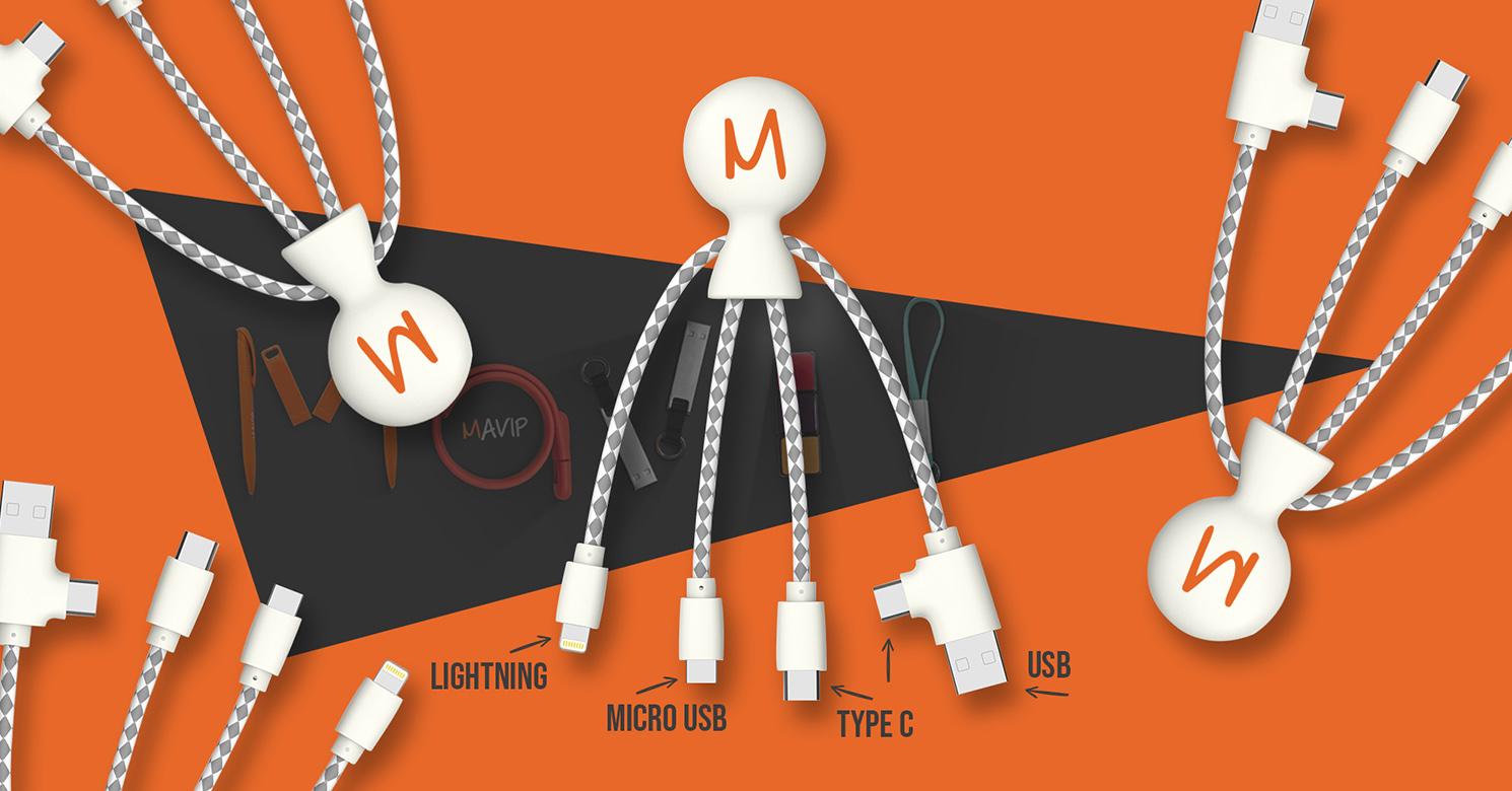 Mr Bio le câble éco multi-connecteurs personnalisable avec logo d'entreprise