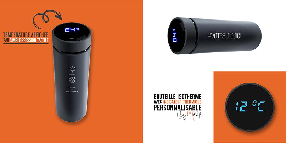 Bouteille isotherme avec indicateur de température tactile personnalisable avec logo d'entreprise by Mavip