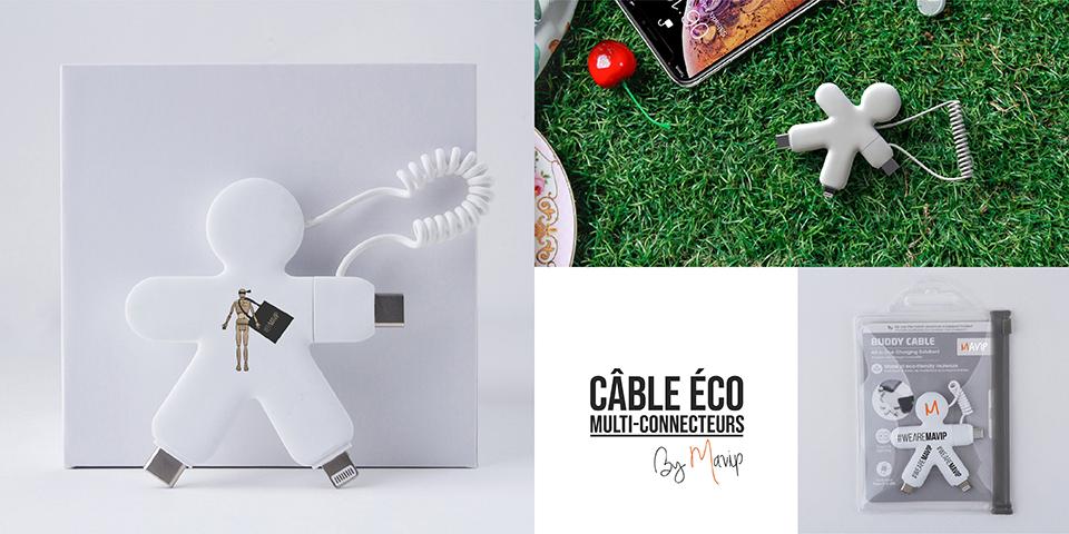 Câble éco multi-connecteurs personnalisable avec logo d'entreprise
