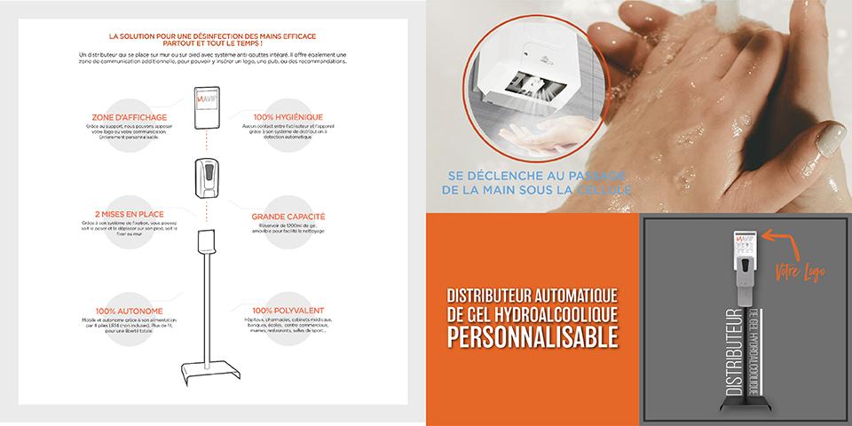 Distributeur de gel hydroalcoolique personnalisable avec logo d'entreprise by Mavip