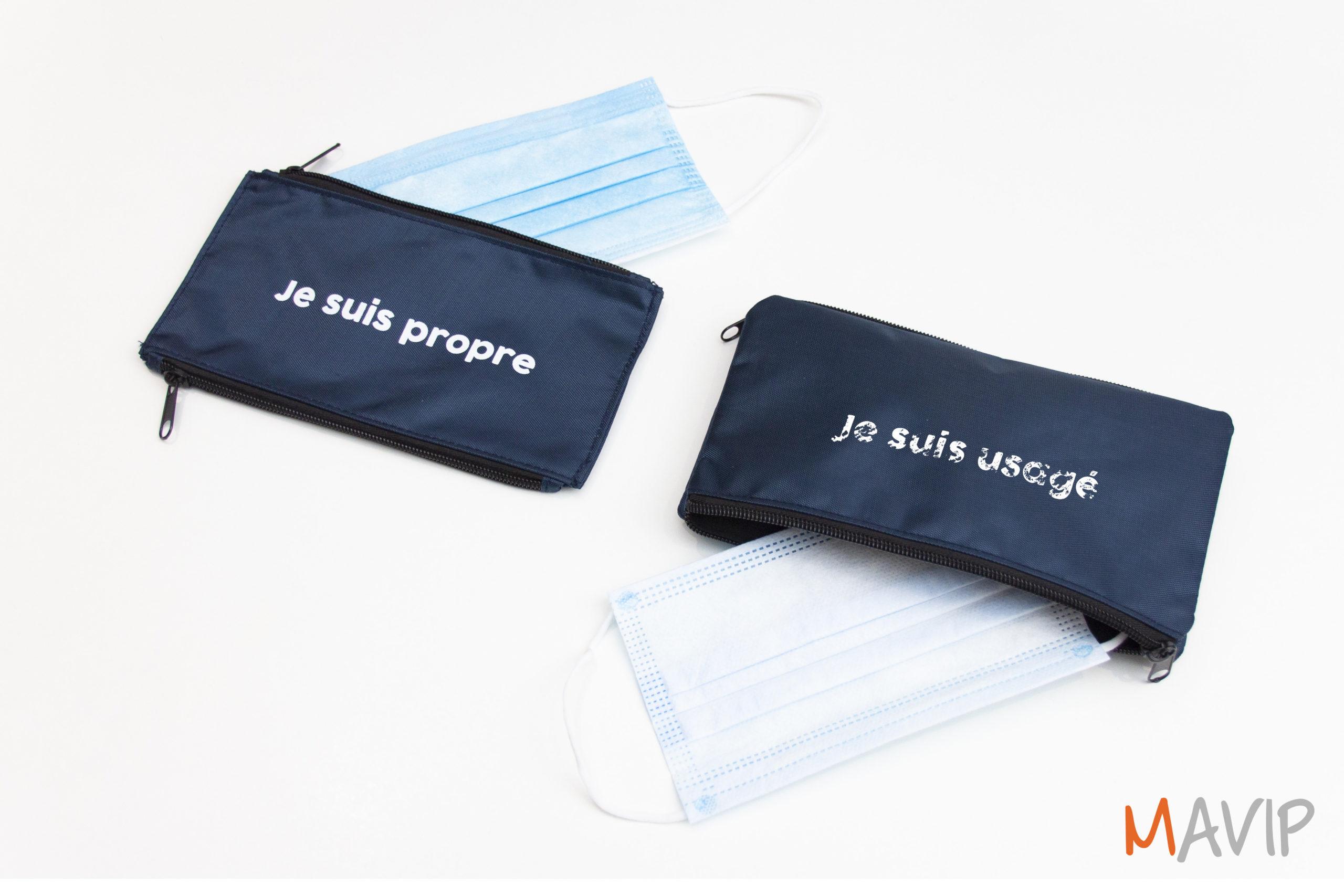 Trousse double poches pour transporter ses masques de protection contre les virus