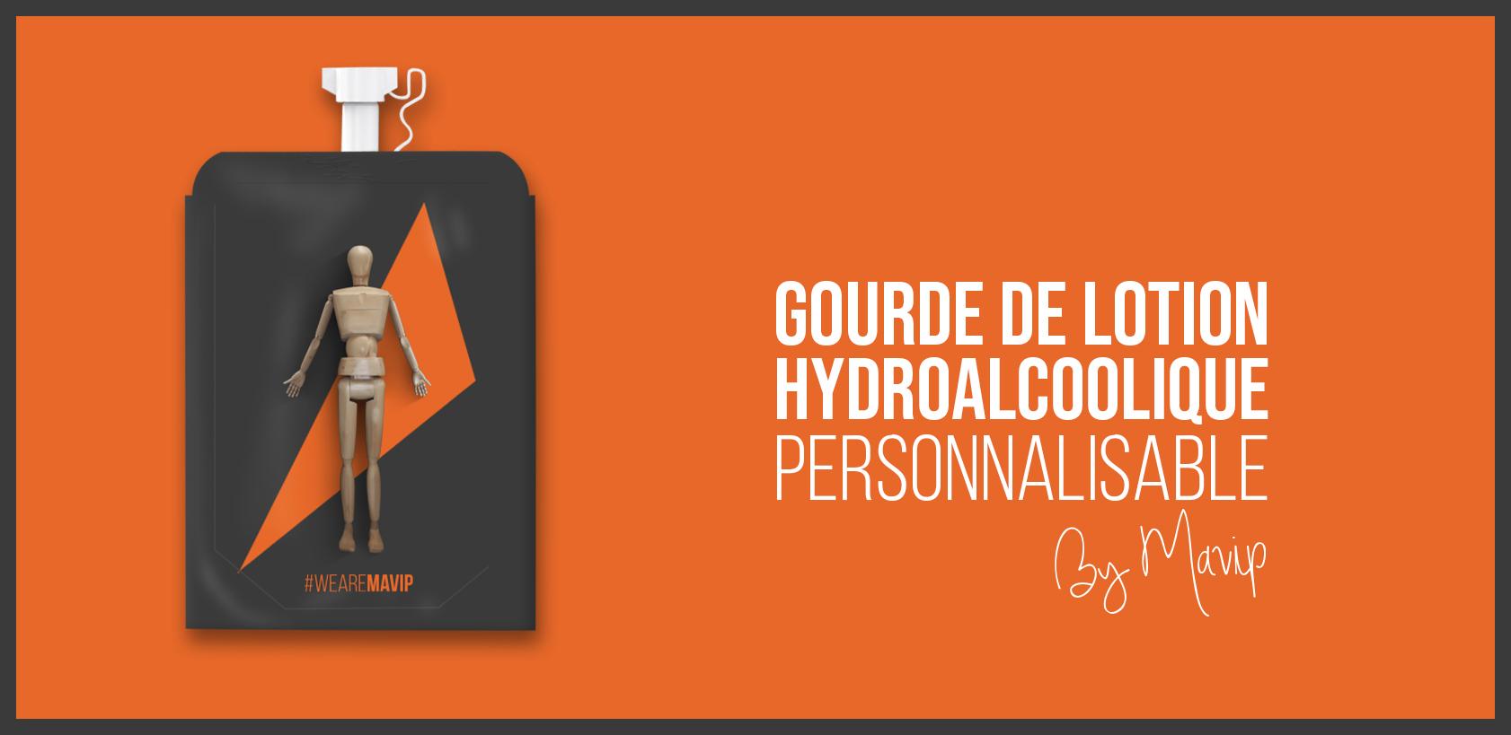 Gourde de lotion hydroalcoolique personnalisable avec votre logo d'entreprise