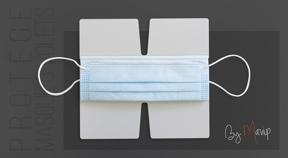 Protège masque 3 volets personnalisable avec logo d'entreprise by Mavip