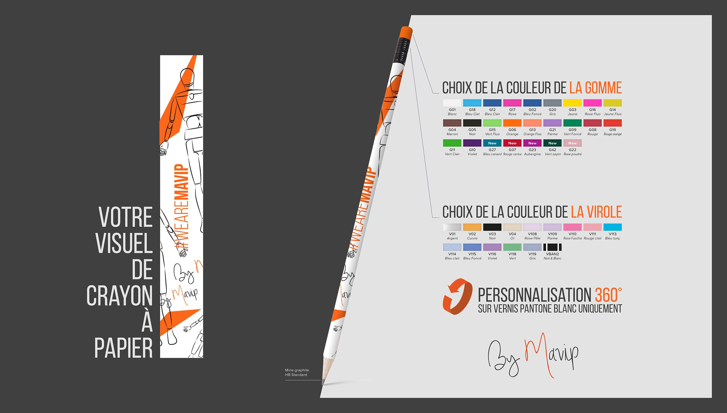 Crayon à papier personnalisé avec marquage à 360 degré