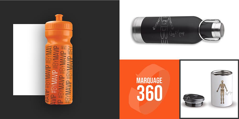 Bouteilles et gourdes avec marquage à 360 degré personnalisées par Mavip