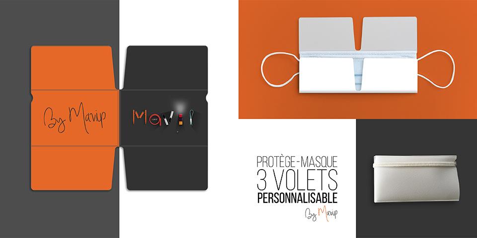 Protège masque 3 volets personnalisable avec logo d'entreprise