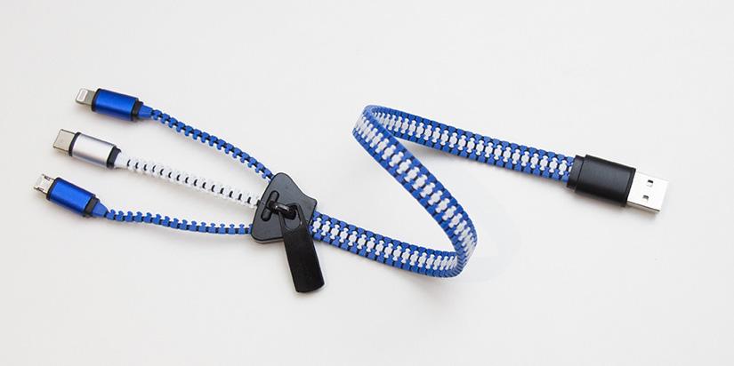 Câble de charge universel en forme de fermeture éclaire personnalisable avec logo d'entreprise