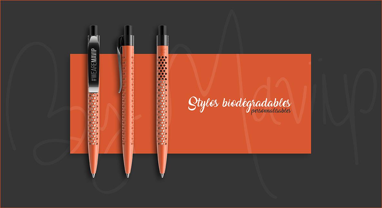 Stylos biodégradables personnalisables avec logo d'entreprise