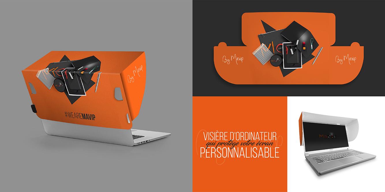 Ghost screen la visière d'ordinateur qui protège l'écran personnalisable avec votre logo d'entreprise by Mavip