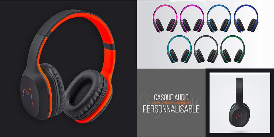 Casque audio avec micro intégré personnalisable avec logo d'entreprise