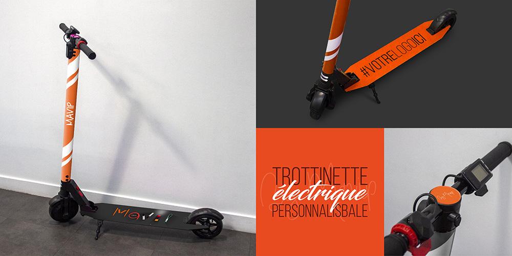 Trottinette éléctrique personnalisable avec logo d'entreprise