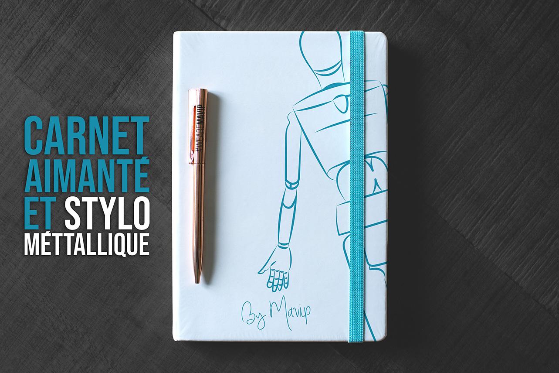 Carnet aimanté et stylo métallique personnalisables