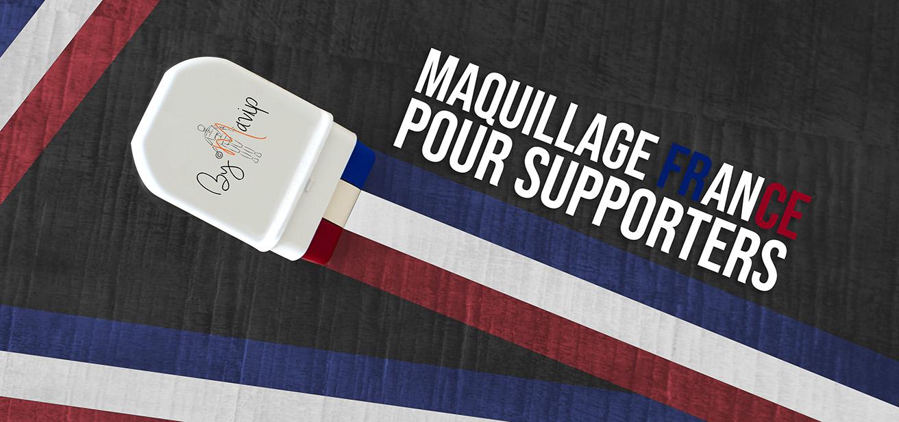 Maquillage de supporters d'équipe de France personnalisé avec logo Mavip