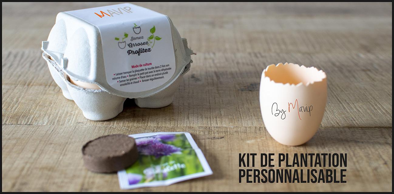 Kit de plantation en forme d'oeuf personnalisable avec logo d'entreprise