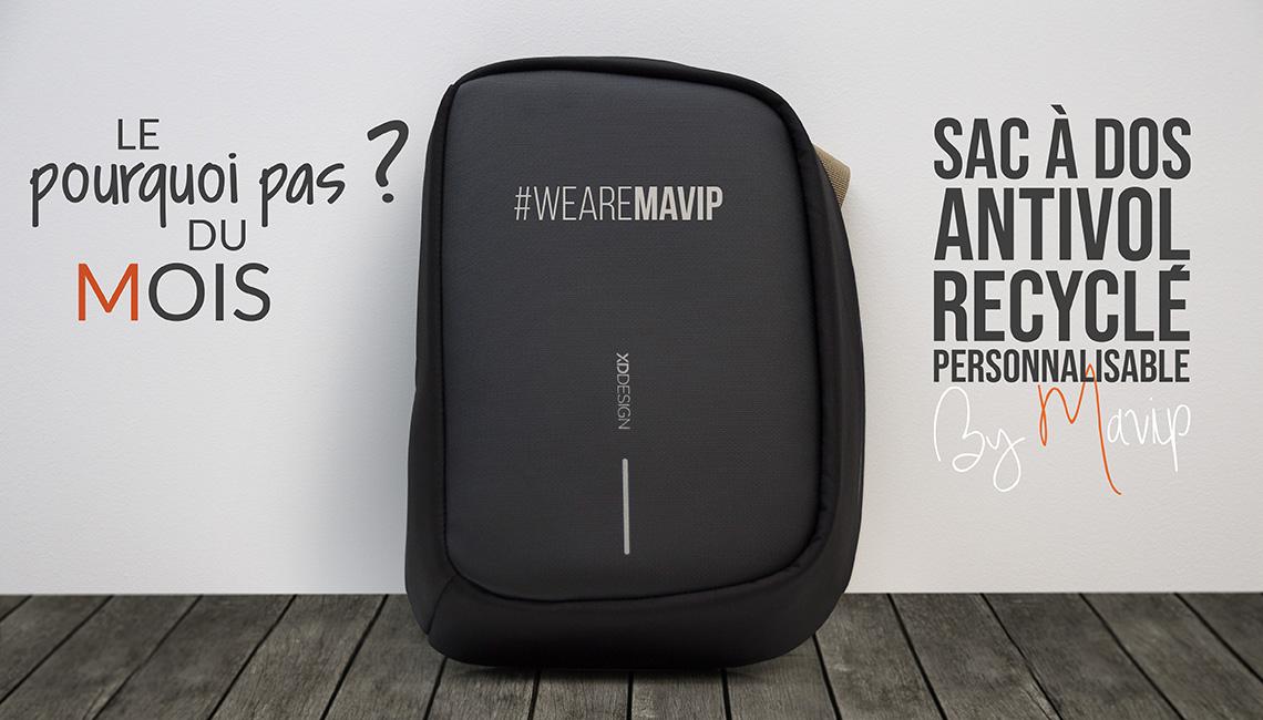 Sac à dos antivol recyclé personnalisable avec logo d'entreprise