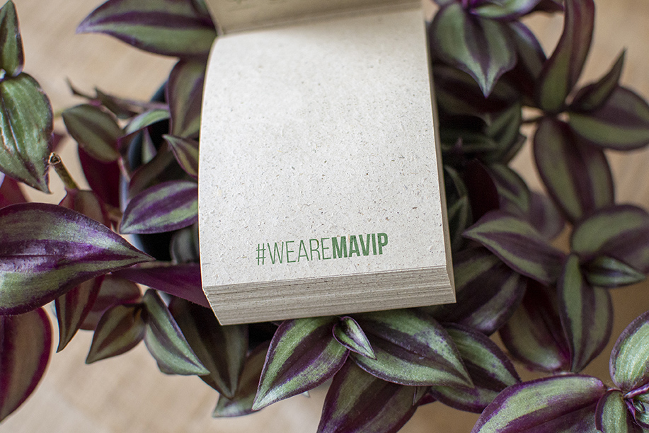 Coffret d'objets médias écologique, recyclable et compostables personnalié par Mavip