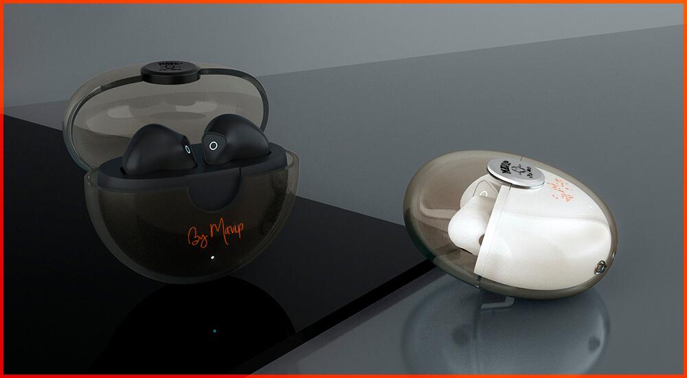 écouteurs sans fil avec coque de charge transparente personnalisables