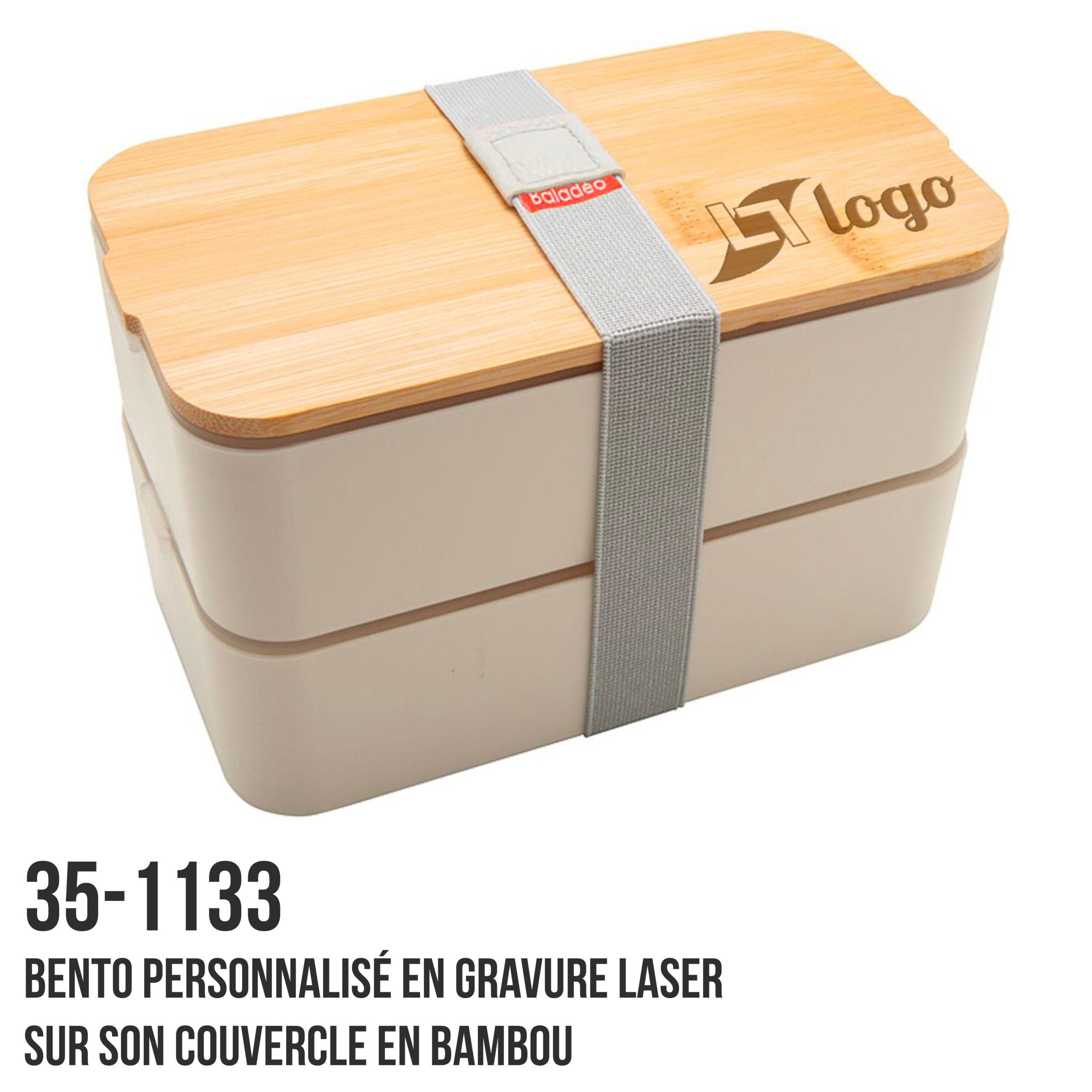 Bento personnalisé avec gravure laser sur le couvercle en bambou