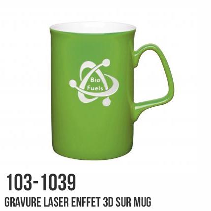 Mug avec gravure laser effet 3D